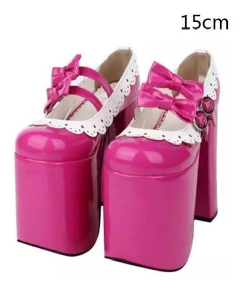 Sapato Salto Alto Lolita Cosplay 15cm