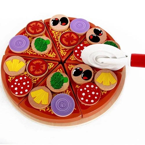 Imagen 1 de 6 de Juguete Pizza Madera Montessori Didacticos Niños Juego Roles