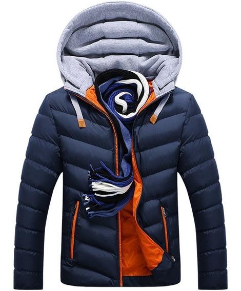 Jaqueta Masculina Com Capuz Em Algodão Outono Inverno