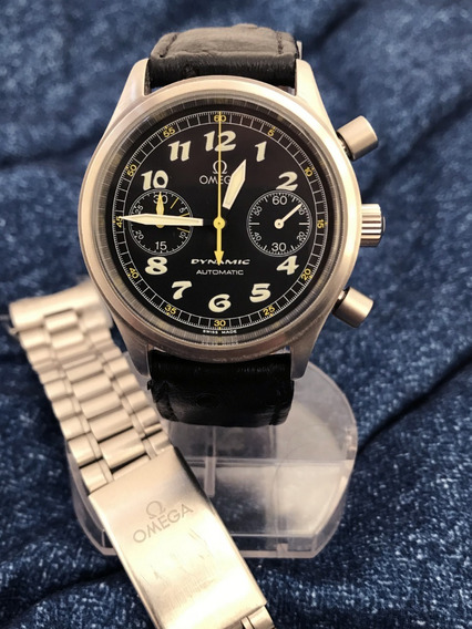 Relógio Omega Cronógrafo Automático E 2 Pulseiras Originais Mesmo - 38mm Sem Contar A Coroa - 13 Anos No Mercado Livre