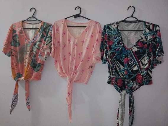 Kit Blusinha Cropped De Laço Tie Dye Lançamento Verão 2 Unid