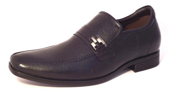 Sapato Masculino Preto Couro Democrata Sem Cadarço Alpha Flex191101