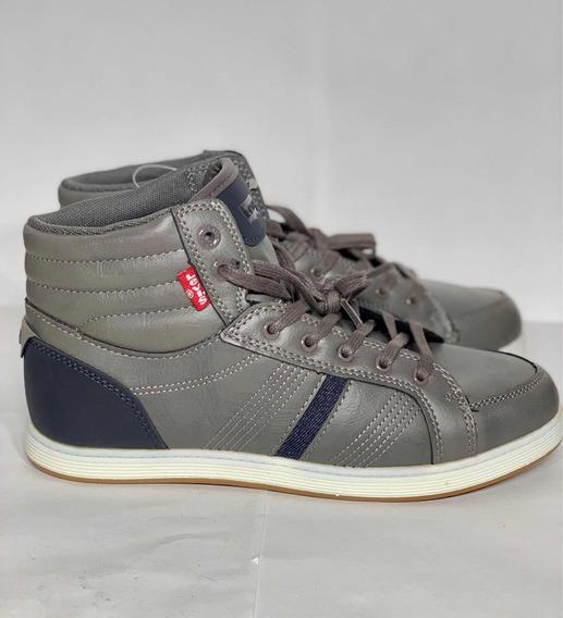 Tenis Sneakers Levis Casual Altos Joven Gris A3