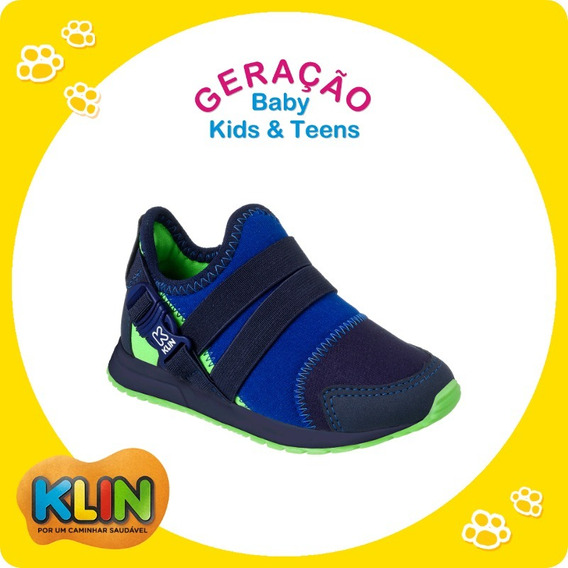Tênis Infantil Baby Walk Klin Marinho/verde 25 Ou 26 -20983