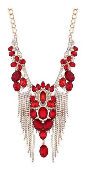 Hermoso Collar Grande Cristales Rojo Dorado Fiesta Envio Gra
