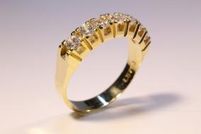 Aparador De Alianças Em Ouro 18 Kl 3mm 7 Pedras Com Angulo