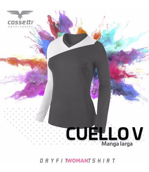Playera Cuello V Cossetti Manga Larga Dryfit Crossline Xl 2x