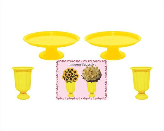 2 Mini Boleiras E 2 Vasos Grego Amarelo