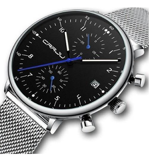 Relógio Masculino Prata Casual Crrju 2278