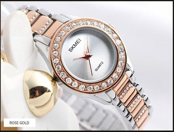 Relógio Feminino Luxo Prova Da Água Skmei 1262