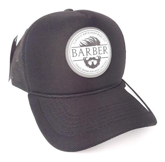 Boné Aba Curva Barbershop Profissional Preto Com Regulagem