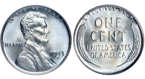 Imagen 1 de 4 de Antigua Moneda De Acero Eeuu Un Centavo 1.943 P, D, S