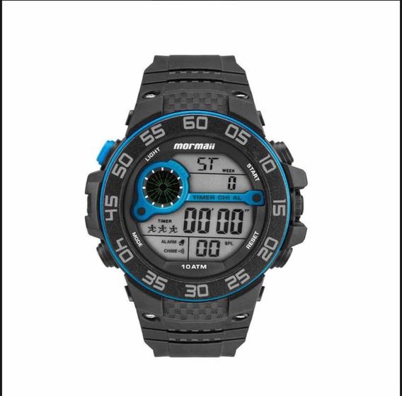 Relógio Mormaii Preto Com Azul Mo9451/8a