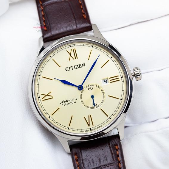 Relógio Citizen Automático Titânio Safira Social Couro