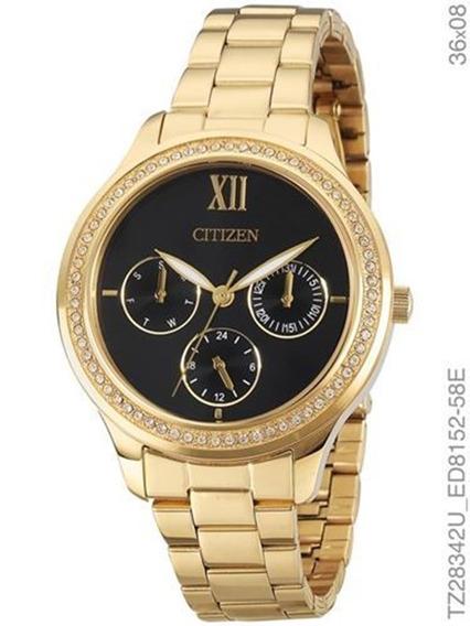 Relógio Citizen Feminino Dourado Cristais Tz28342u