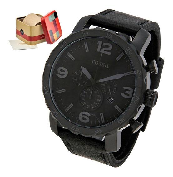 Relógio Masculino Fossil Jr1354 Pulseira Em Couro Original Caixa 50mm Nota Fiscal Garantia + Brinde Oferta Joclock Store