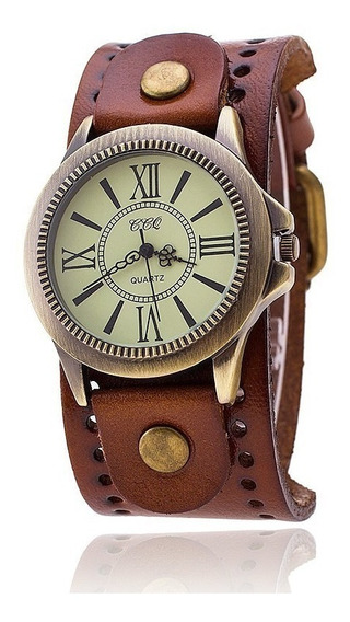 Reloj Hombre Mujer Vintage Piel