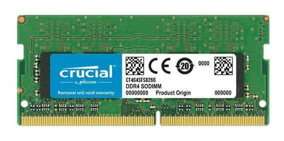 Memoria Ram Sodimm Crucial 4gb 1x4gb Ddr4 2666 Mhz Gtia Pce