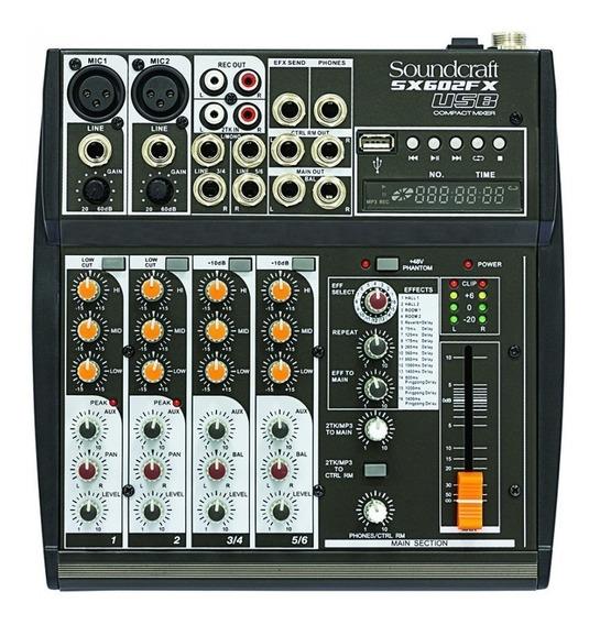 Mesa De Som Compacta Soundcraft Sx602fx-usb (6 Canais/usb)