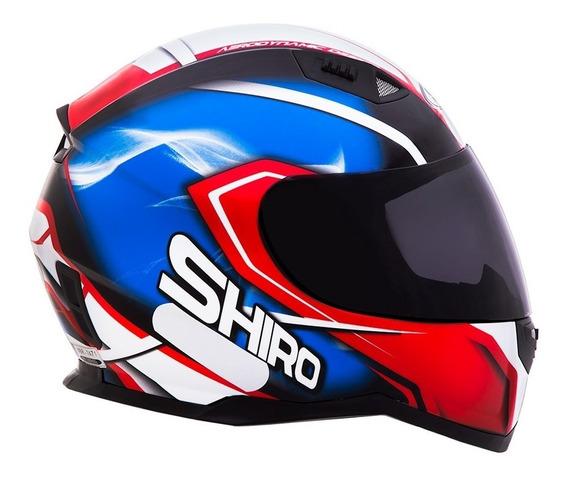 Capacete Shiro Sh 881 - Motegi - Azul/vermelho - Tamanho 58