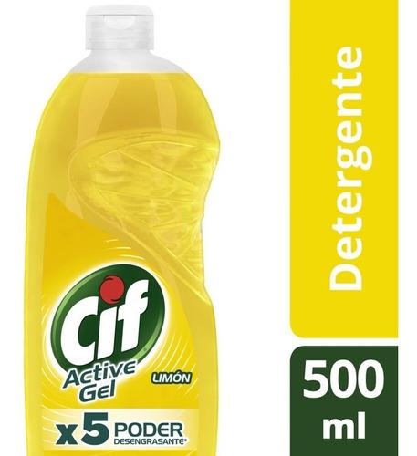 Cif Active Gel Detergente Lavavajilla Limón 500ml