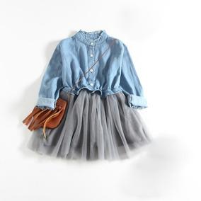 7a68d0196 Moda Otoño Manga Larga Vestido Costura Vaquero 140 Cm Azul