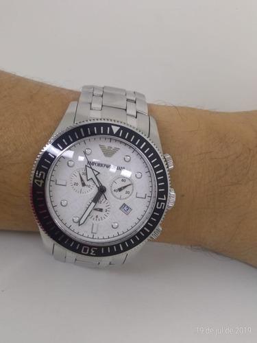 Relógio Masculino Empório Armani Ar0586 Inox Fundo Branco 3d