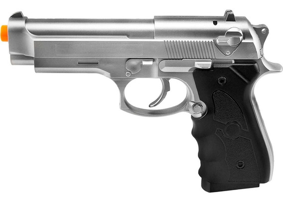 Pistola De Airsoft Spring Beretta 92 Prata G052s 6mm - Galaxy