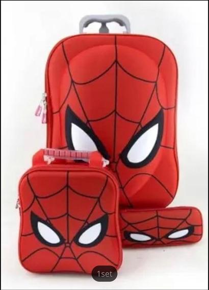 Kit De Mochila Lonchera Y Lapicero De Ruedas Spiderman