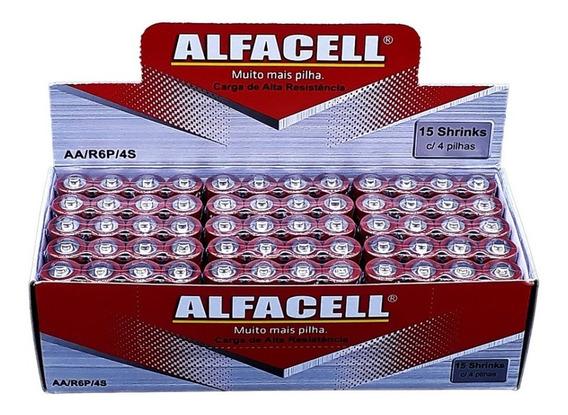 Pilha Normal Comum Aa 2a R6p 1,5v Alfacell Caixa 60 Un Rádio