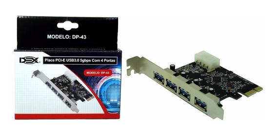 Placa Pci Express Usb 3.0 Ate 5gbps 4 Portas Nova Nfe Pci-e