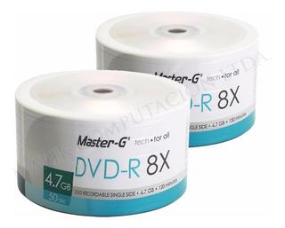 Pack 100 Unidades Dvd-r Virgen Master-g Estampado Logo 8x