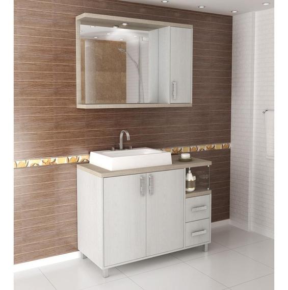 Kit Gabinete Banheiro 100cm Casa Móveis E Decoração No