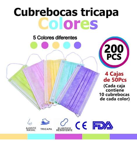 Imagen 1 de 9 de 200 Cubrebocas Tricapa Tapabocas Mascarilla 5 Colores Log-on