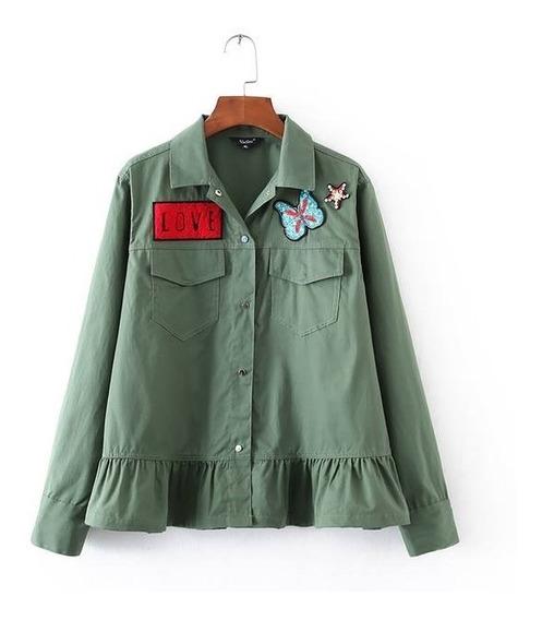 Camisa Vadim Peplum Con Apliques Talle S - 7399
