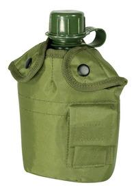 Cantil De Água 950ml Militar Camping Guepardo Com Capa Verde