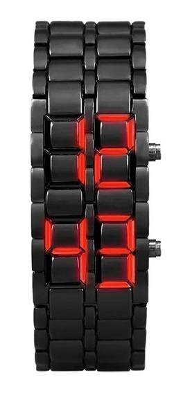 Relógio Masculino Led Iron Samurai Pulseira Em Pvc