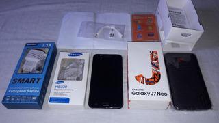 Celular Samsung J7 Neo Preto Com Tv 16gb +acessórios + Nota.