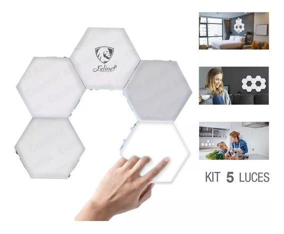 Touch Led Lampara Hexagonal Iluminacion Pared 5 Modulos Luz