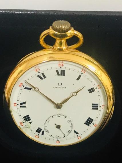 Relógio De Bolso Ômega Ouro 18k-106gr. 20 Linhas.