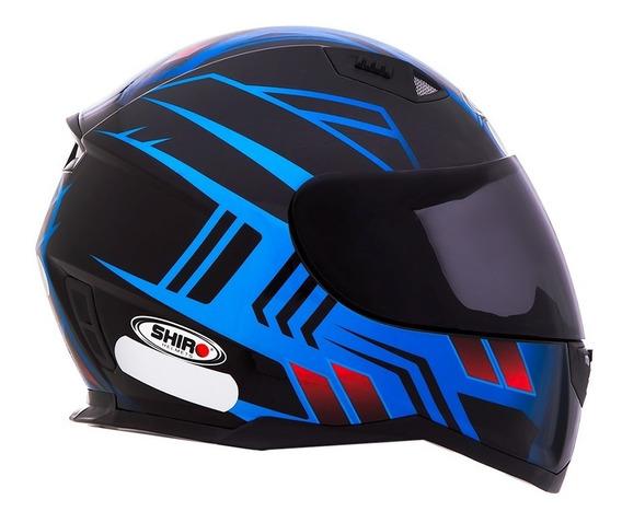 Capacete Shiro Sh-881 - Fly Racing - Preto/azul - Tamanho 56