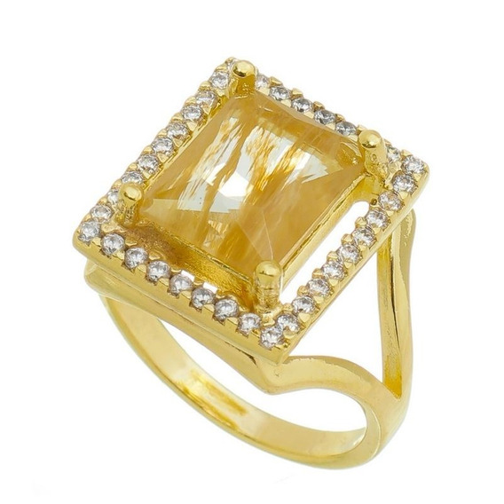 Anel Pedra Citrino Natural 15 Microns Ouro 18k Lindo