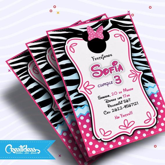 Minnie Rosa Dorado Invitaciones Souvenirs Para Cumpleaños