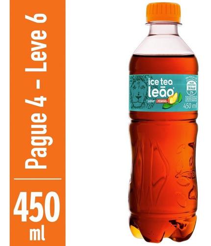 Chá Preto Ice Tea Pêssego Leão 450ml - Compre 4 Leve 6