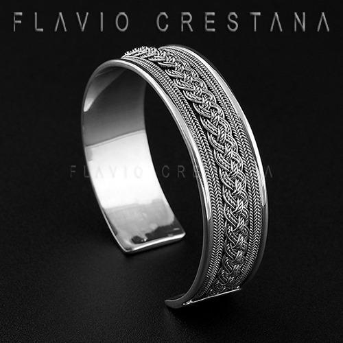 Pulseira Bracelete Fios Trançados Prata 925, Indonesia - 419