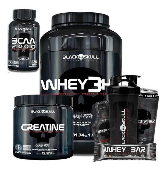 Whey 3hd 900g + Bcaa 2.400 + Creatina + Shaker - Black Skull