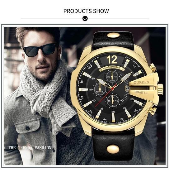 Relógio Masculino Dourado Curren Original Luxo Quartzo