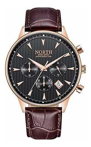 North - Reloj De Pulsera Para Hombre, Color Marrón, De Cuero
