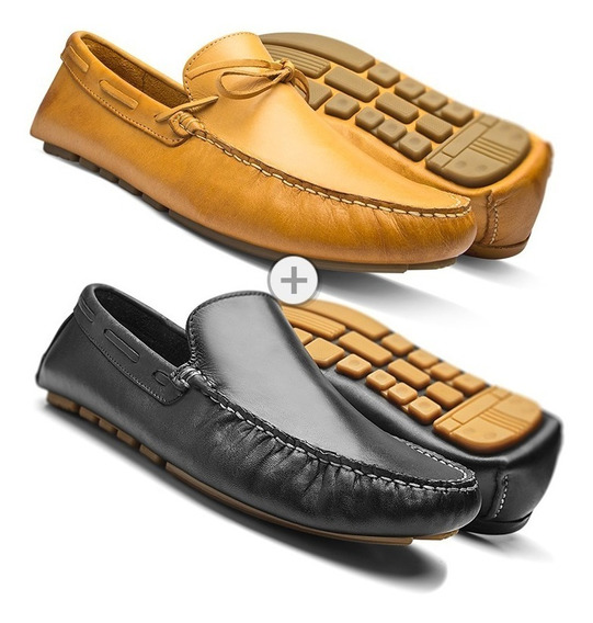 Mocassim Masculino Sapato Casual Kit 2 Pares Couro Legítimo