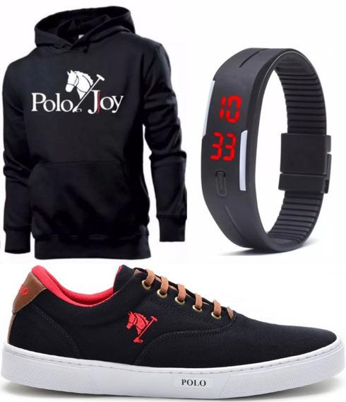 Tênis Masculino Polo Joy Promoção + Moletom Erelógio Digital